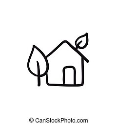 Eco-friendly house sketch icon. - Eco-friendly house vector...