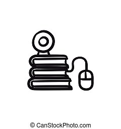 Online education sketch icon. - Online education vector...
