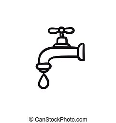 Faucet with water drop sketch icon. - Faucet with water drop...