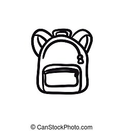 Backpack sketch icon. - Backpack vector sketch icon isolated...