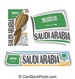Vector logo Saudi Arabia 3 isolated images: vertical banner...