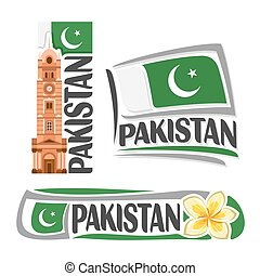 Vector logo Pakistan, 3 isolated images: vertical banner...