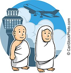 Hajj Kids and Airport - Vector illustration of a hajj kids...