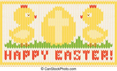 Happy easter knitted card with chiken and egg, vector...