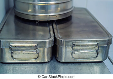 Medical metal box round crumpled and scratched - Medical...