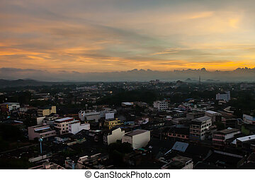 Beautiful Cityscape Sunrise at Trang Thailand