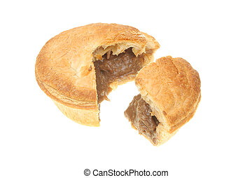 Meat pie with slice cut out - Meat pie with a slice cut out...