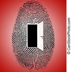 Fingerprint - Surrealism. Fingerprint with opened.