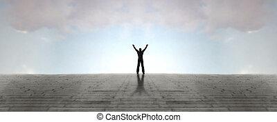 Joy - Human figure streaches arms skyward