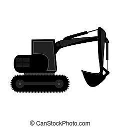 black backhoe loader icon, vector illustration image design