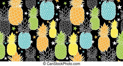 Fun Pineapples Vector Repeat Seamless Pattrern in Black,...