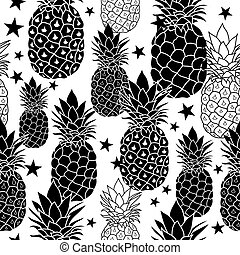 Balck and White Hand Drawn Pineapples Vector Repeat...