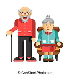 Happy pensioners couple. Elderly man with stick and his wife...