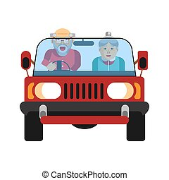 Grandparents driving on jeep car isolated on white. Vector...
