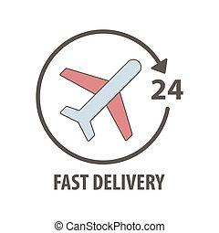 Fast delivery logo with plane in circle. Fast delivery sevice 24 hours.