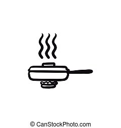 Frying pan with cover sketch icon.