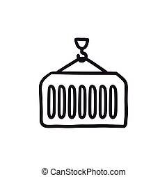 Cargo container sketch icon. - Cargo container vector sketch...