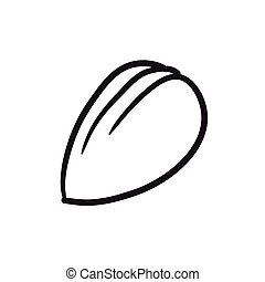 Almond sketch icon. - Almond vector sketch icon isolated on...