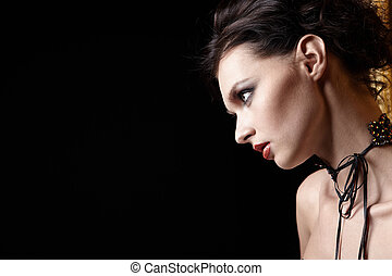 The stunned girl - Portrait of the beautiful girl on a black...