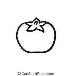 Tomato sketch icon.