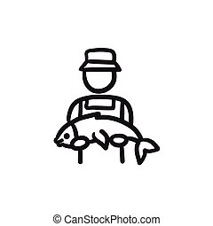 Fisherman with big fish sketch icon. - Fisherman with big...