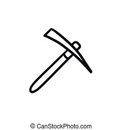 Pickax sketch icon. - Pickax vector sketch icon isolated on...