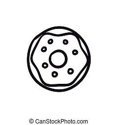 Doughnut sketch icon. - Doughnut vector sketch icon isolated...