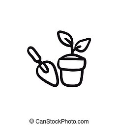 Garden trowel and pot with plant sketch icon. - Garden...