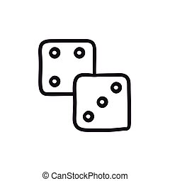 Dice sketch icon. - Dice vector sketch icon isolated on...
