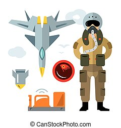 Vector Air Force pilot. Flat style colorful Cartoon...
