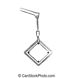 monochrome contour hand drawing of crane hook holding a diamond traffic sign