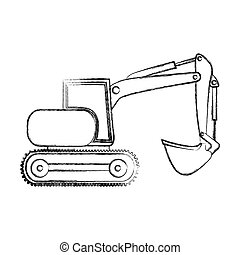 monochrome contour hand drawing of backhoe with crane for construction