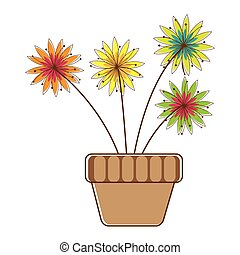 colorful silhouette with flower in pot