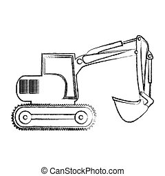 monochrome contour hand drawing of backhoe vector...