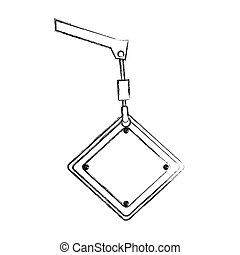 monochrome contour hand drawing of crane hook holding a diamond traffic sign close up
