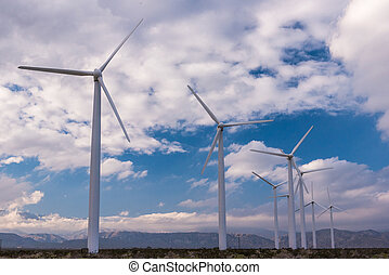 Wind turbines in Palm Desert area - Many wind machines in...