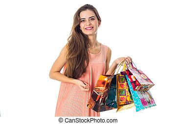 美しい, 袋, 保有物, 贈り物, 隔離された, 明るい, 背景, 女の子, 白