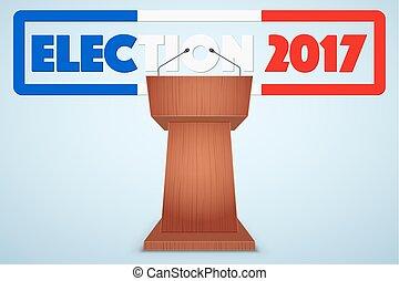 Podium Tribune with French Election Symbol - Podium Tribune...