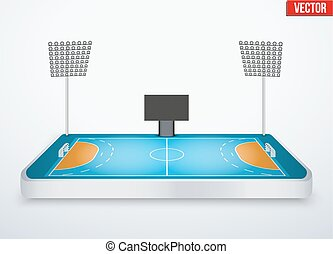 Concept of miniature tabletop handball arena. In...