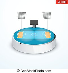 Concept of miniature round tabletop handball arena. In...