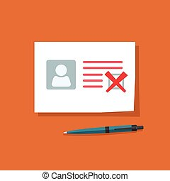 Document with declined checkmark vector illustration, personal data doc with failed checkbox