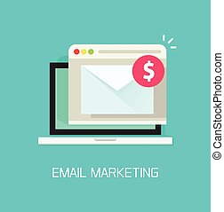 Email with income money received in laptop computer, e-mail marketing concept