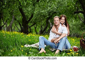 Enamoured in park