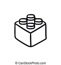 Building block sketch icon. - Building block vector sketch...