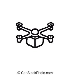 Drone delivering package sketch icon. - Drone delivering...
