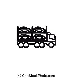 Car carrier sketch icon. - Car carrier vector sketch icon...