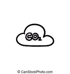 CO2 sign in cloud sketch icon. - CO2 sign in cloud vector...