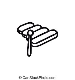 Xylophone sketch icon. - Xylophone vector sketch icon...