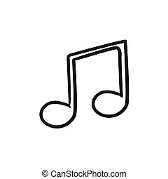 Music note sketch icon. - Music note vector sketch icon...