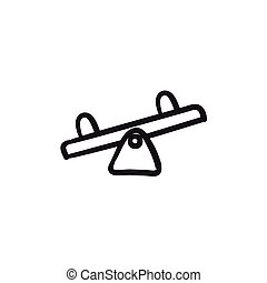 Seesaw sketch icon. - Seesaw vector sketch icon isolated on...